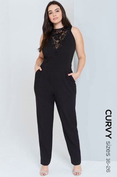 Black Lace Detail Jumpsuit