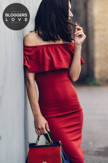 Burgundy Midi Dress With Ruffle