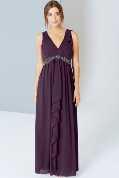 Purple Embellished Maxi With Tie Back