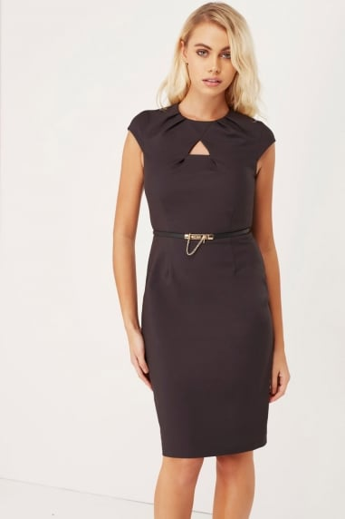 Charcoal Keyhole Pleat Dress