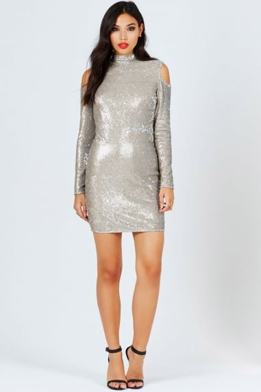 Gold Sequin Cold Shoulder Bodycon Dress