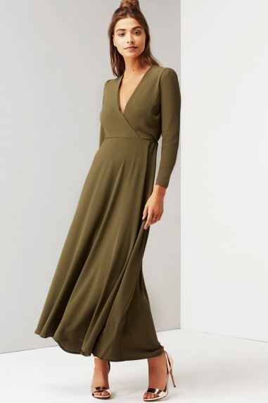 Khaki Tie Waist Maxi Dress