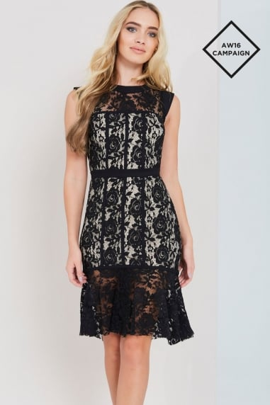 Black Lace Peplum Hem Dress