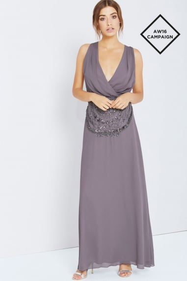 Grey Drape Front Maxi With Embellishment
