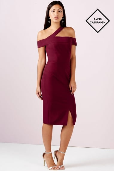 Burgundy One Shoulder Split Midi Dress