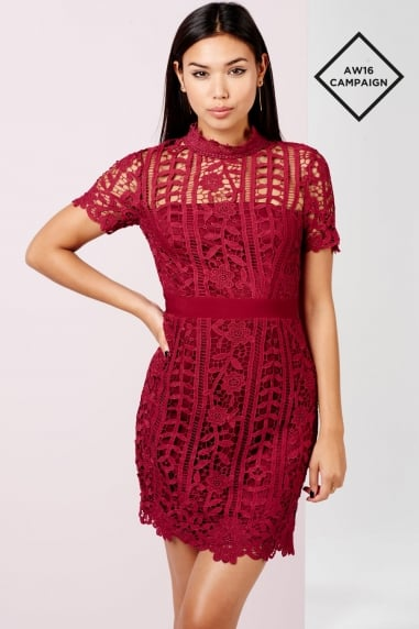 Burgundy Crochet Mini Dress