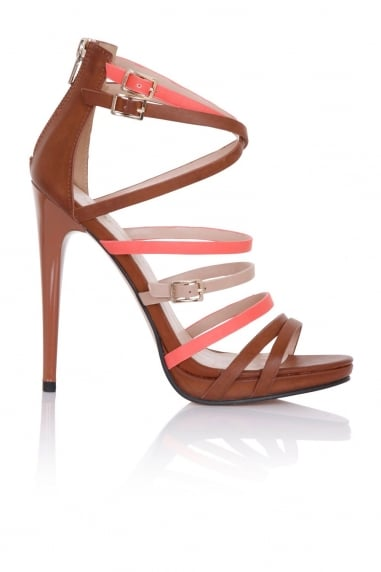 Theia Tan, Coral and Beige Strap Sandals