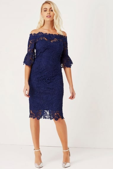 Navy Crochet Bardot Dress