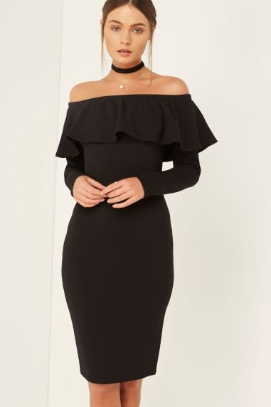 Bardot Ruffle Midi Dress