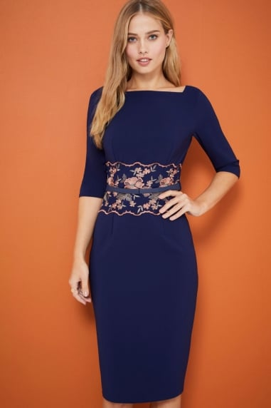 Navy Embroidered Waist Dress