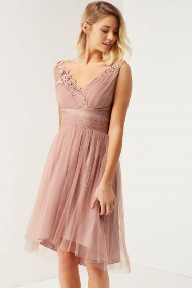 Rose Applique Mesh Prom Dress
