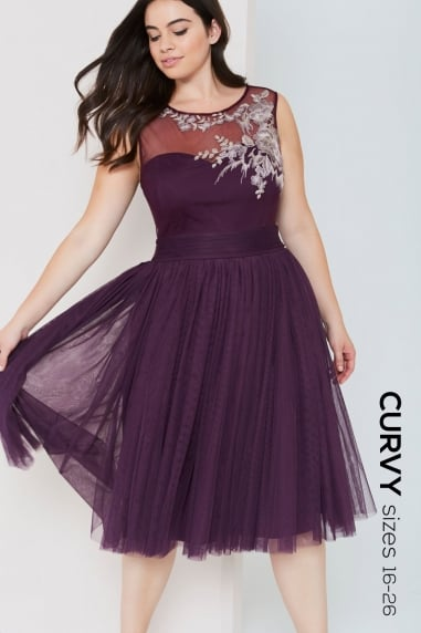 Purple Midi Dress With Embroidery Trim