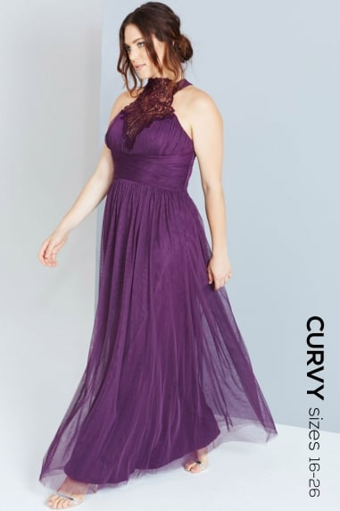 Purple High Neck Maxi Dress With Trim