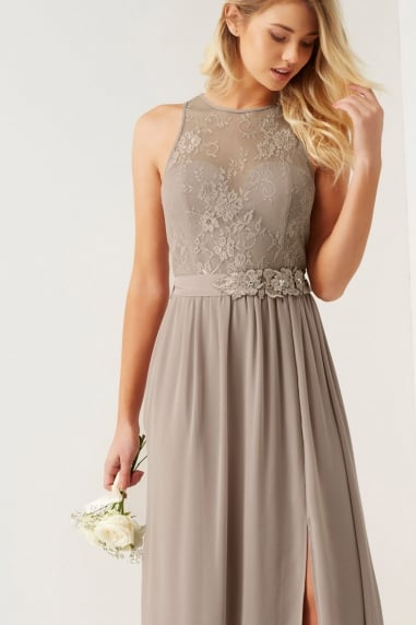 Mink Lace Maxi Dress With Belt