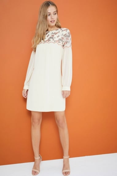 Cream Embroidered Shift Dress