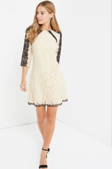 Beige Eyelash Lace Mini Dress