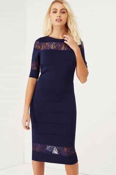 Navy Lace Insert Dress