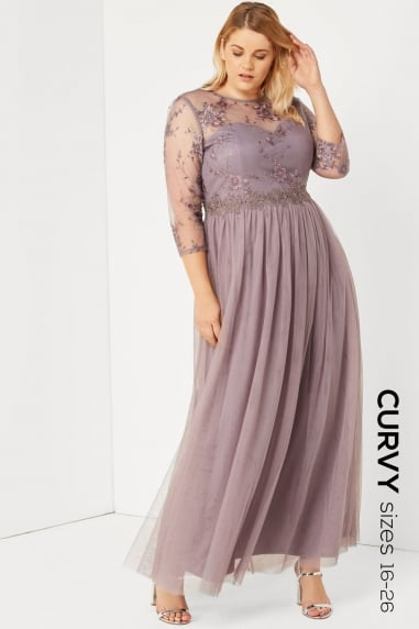 Grey Lace And Embroidered Maxi Dress