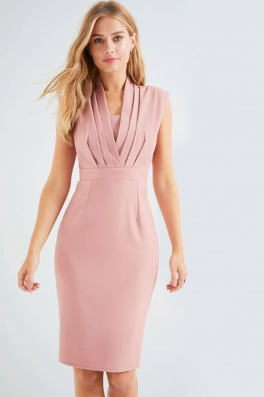 Peach Pleat Bodycon Dress