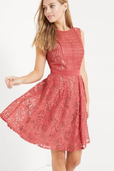 Terracotta Lace Panel Dress