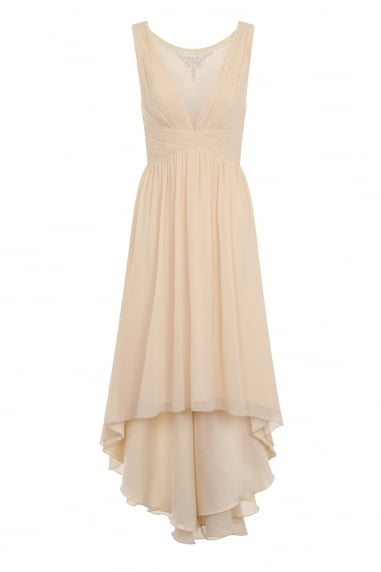 Beige Dipped Hem Maxi Dress