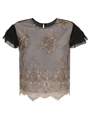 Black Embroidery Scallop Top