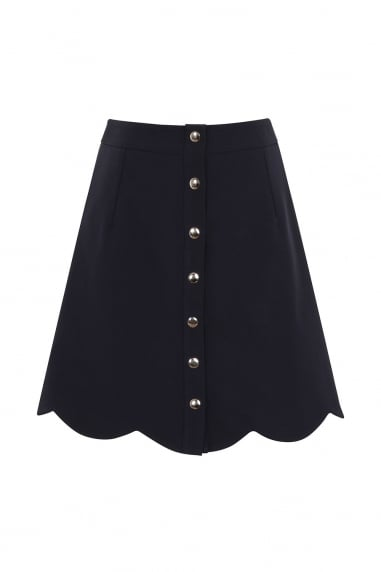 Navy Scallop Button Mini Skirt