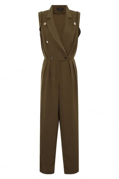 Khaki Green Crossover Jumpsuit