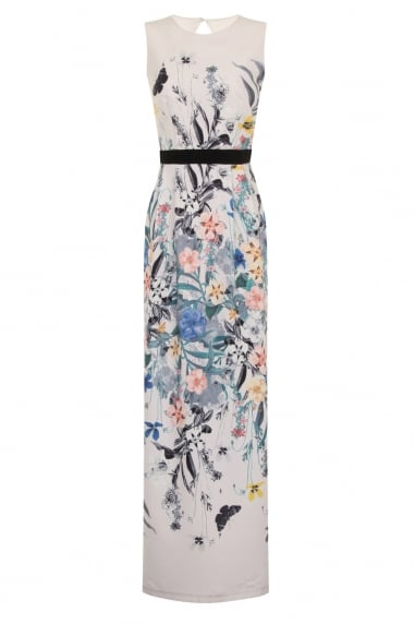 Botanical Print Column Maxi Dress