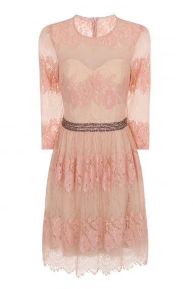 Peach Lace Overlay Mini Dress