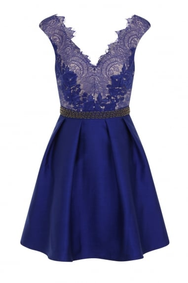 Cobalt Embellished Lace Fit and Flare Dress