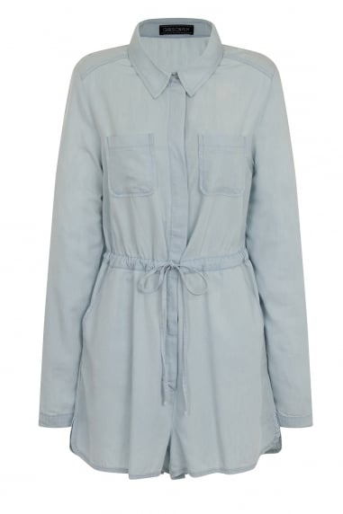 Denim Shirt Playsuit