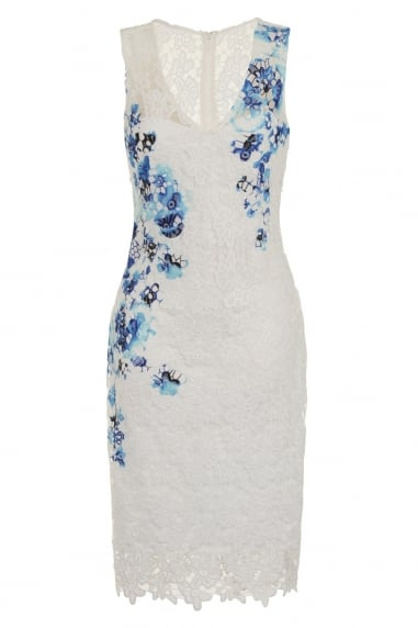 White and Floral Print Crochet Lace Dress