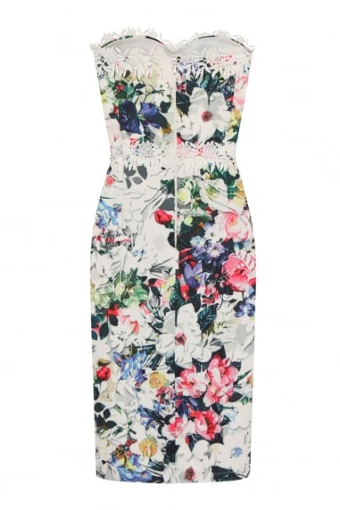 Multi Floral Print Crochet Trim Bandeau Dress