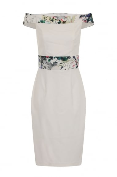 Cream and Floral Print Bardot Dress