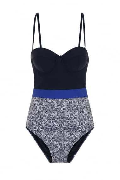 China blue print bustier swimsuit