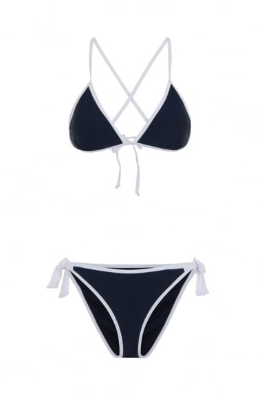 Cross back navy bikini with contrast cream trim