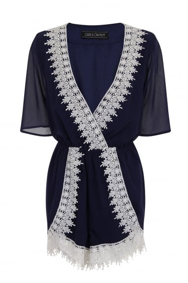 Navy Playsuit With Crochet Trim