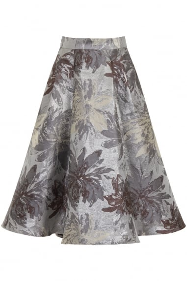 Silver Jacquard A-line Skirt