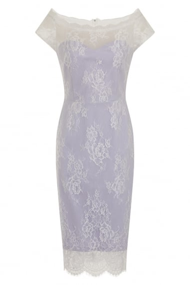 Lilac Sheer Lace Overlay Bardot Dress