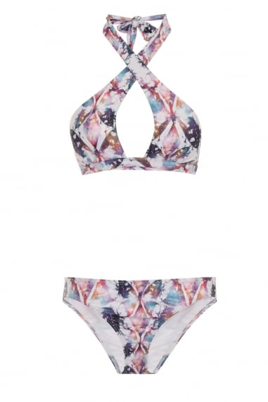 Multi Strap Front Bikini in Frosted Butterfly Print
