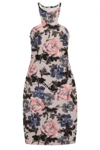 Grey Rose Print Racer Back Dress