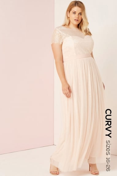 Nude Lace Overlay Maxi Dress