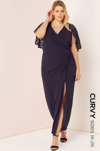 Navy Gathered Waist Maxi Dress