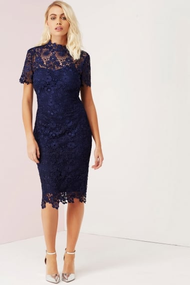 Navy Daisy Crochet Dress