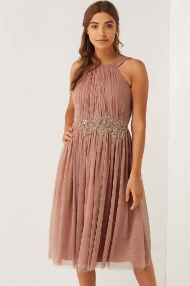 Apricot Applique Mesh Dress