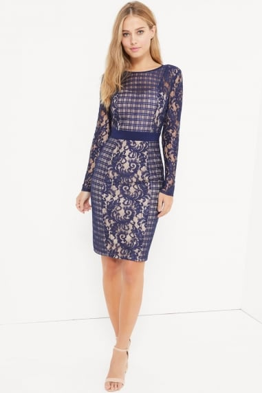 Navy Multi Lace Panel Dress