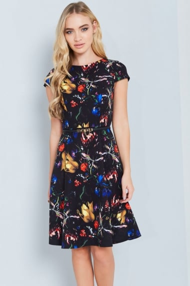 Abstract Floral Print Swing Dress