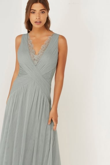 Grey Pleated Lace Maxi Dress