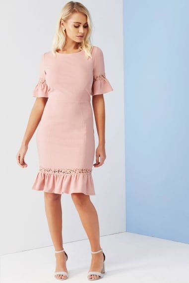 Rose Lace Panel Peplum Dress